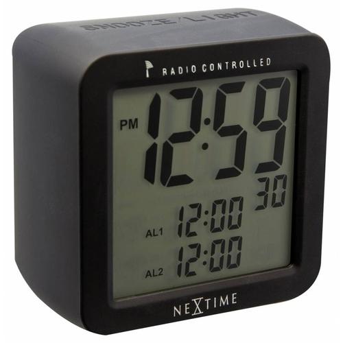 NeXtime Stolní hodiny NeXtime Square Alarm Black Radio Controlled