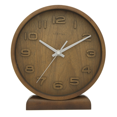 NeXtime Stolní hodiny NeXtime Wood Wood Small Brown